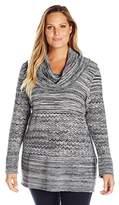 Heather B Women's Plus-Size Cowl Neck Marled Tunic Sweater