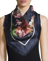 Gucci Gerabloom Jacquard Square Silk Scarf, Blue/Pink