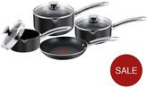 Tefal Easy Strain 4 Piece Pan Set - Black