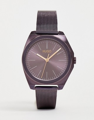 HUGO 1540027 Imagine mesh watch in aubergine 35mm