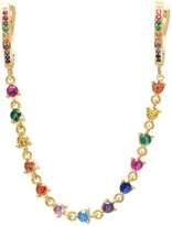 GABIRIELLE JEWELRY 14K Yellow Gold Vermeil Rainbow CZ Gem Ear Chain Crawler
