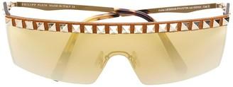 Philipp Plein Visor-Style Studded Sunglasses