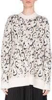 Proenza Schouler Oversized Leopard Jacquard Crewneck Sweater, Ecru