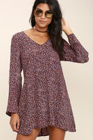 Lucy-Love Lucy Love Moon Child Burgundy Floral Print Dress