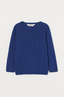 H&M Fine-knit Sweater with Pocket - Blue