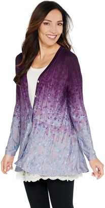 LOGO by Lori Goldstein Printed Ombre Knit Button Front Cardigan