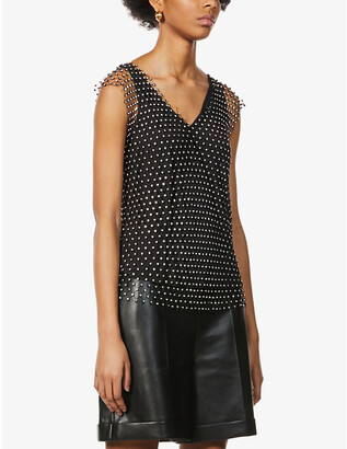 Pinko Esteban sleeveless woven-embellished top
