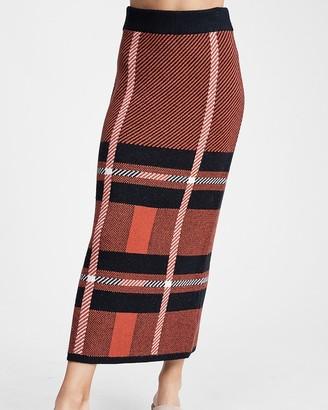Express En Saison High Waisted Plaid Midi Skirt