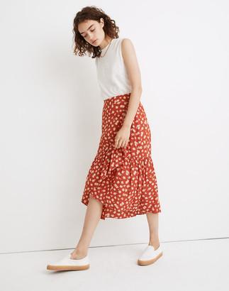 Madewell Ruffle-Wrap Midi Skirt in Happy Hibiscus