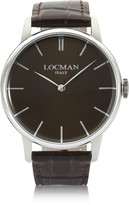 Locman 1960 Stainless Steel Men's Watch w/ Dark Brown Croco Embossed Leather Strap