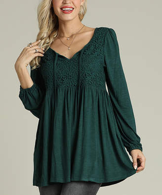 Suzanne Betro Women's Tunics 102DARK - Dark Green Lace Empire-Waist Tunic - Women & Plus