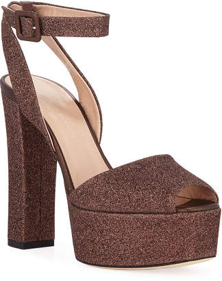 Giuseppe Zanotti Glittered Ankle-Strap Platform Sandals