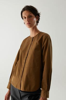 Cos Cotton Grandad Collar Patch Pocket Shirt