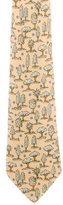 Hermes Tree Print Silk Tie