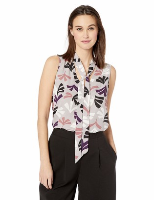 Nine West Womens Sleeveless Tie Neck Printed Crepe Bow Blouse