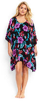 Classic Women's Plus Size Dolman Sleeve Cover-up-Black Paradise Tropical