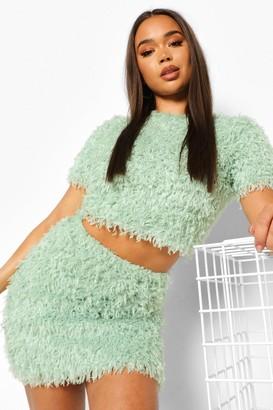 boohoo Feather Knit Mini Skirt