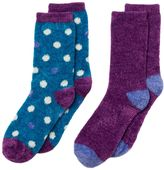 Cuddl Duds Girls 4-16 2-pk. Dot & Solid Chenille Crew Socks