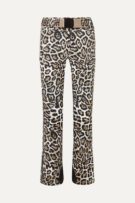 Goldbergh Roar Belted Faux Leather-trimmed Leopard-print Ski Pants - Leopard print