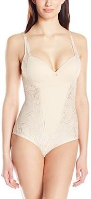 Joan Vass Women's Molded Cup Lace Bodysuit