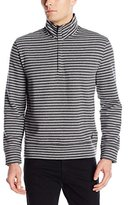 Nautica Men's 1/4 Zip Striped Mock Neck Sweater with Placket
