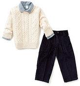 Class Club Little Boys 2T-7 Cable Knit Sweater, Check Shirt & Corduroy Pants Set