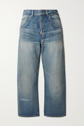 Saint Laurent Cropped High-rise Straight-leg Jeans - Blue
