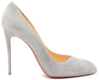 Christian Louboutin Corneille 100 Asymmetric Suede Pumps - Womens - Light Grey
