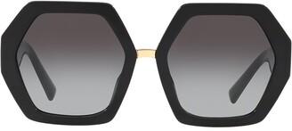 Valentino Eyewear hexagonal oversized V logo sunglasses