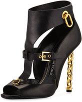 Tom Ford Buckled Chain-Heel Cutout Sandal