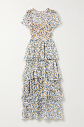 HVN Brynn Tiered Floral-print Silk-chiffon Maxi Dress - Blue