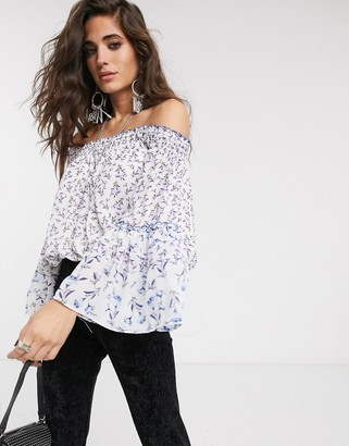 Free People rose valley printed off shoulder blouse-White