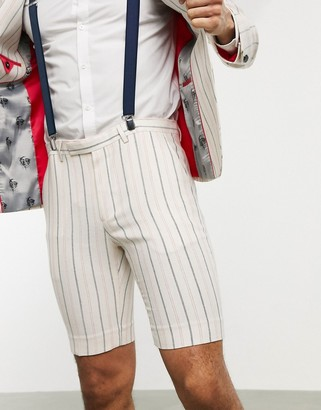 Twisted Tailor skinny suit shorts with stripes in cream