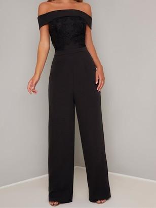 Chi Chi London Janella Embroidered Bardot Wide Leg Jumpsuit - Black