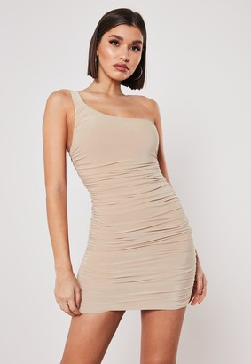 Missguided Nude Slinky One Shoulder Ruched Bodycon Mini Dress
