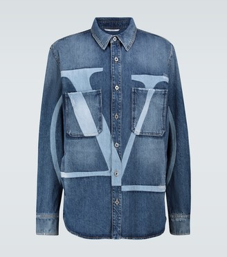 Valentino VLTN denim distressed overshirt