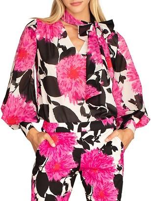 Trina Turk Demming Floral Silk-Stretch Blouse