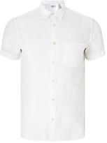 J. Lindeberg Daniel Short Sleeve Linen Cotton Shirt, White