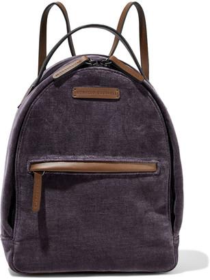 Brunello Cucinelli Bead-embellished Velvet And Leather Backpack