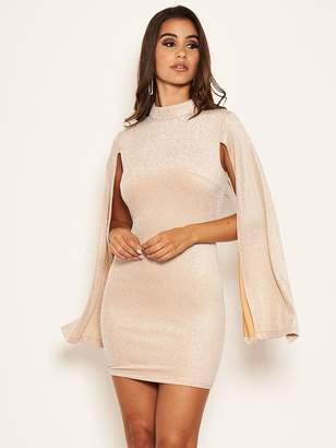 AX Paris Petite Petite Long Split Sleeved Sparkle Bodycon Dress - Champagne