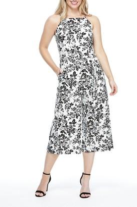 London Times Margorie Square Neck Linen Blend Jumpsuit