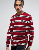 Love Moschino Striped Sweater with Chest Print