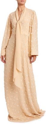 Chloé Flower Guipure Georgette Long Dress