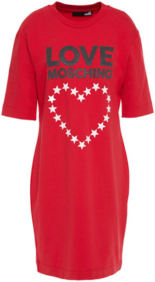 Love Moschino Glittered Printed French Cotton-blend Terry Dress