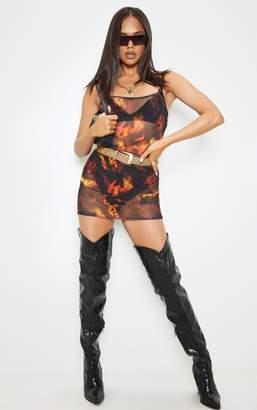 PrettyLittleThing Black Fire Print Mesh Bodycon Dress