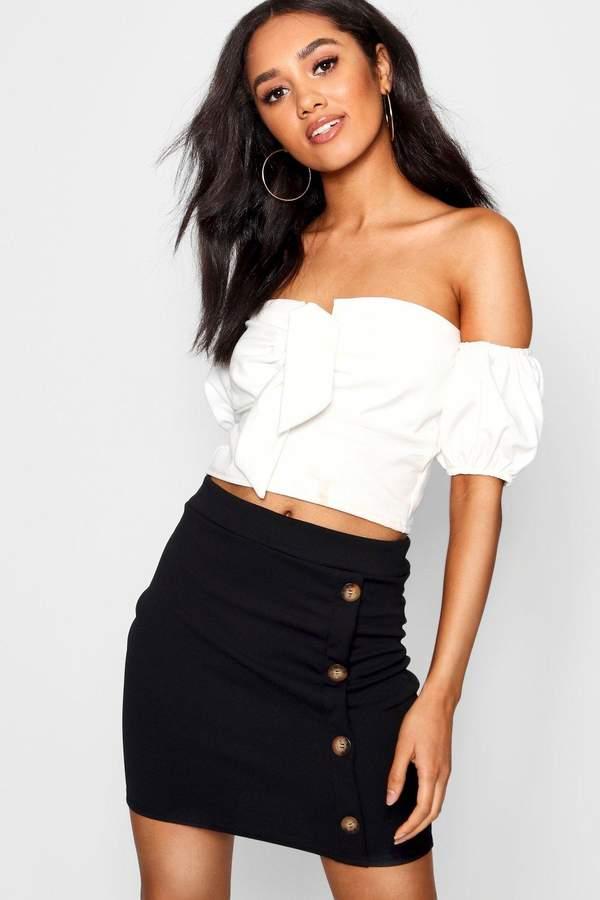 boohoo Petite Mock Horn Button Mini Skirt