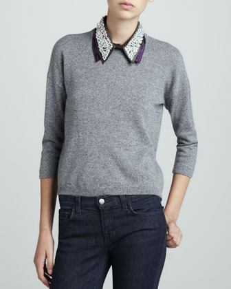 Design History Cashmere Beaded-Collar Sweater