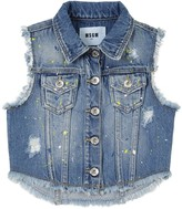 MSGM Painted Stretch Cotton Denim Vest