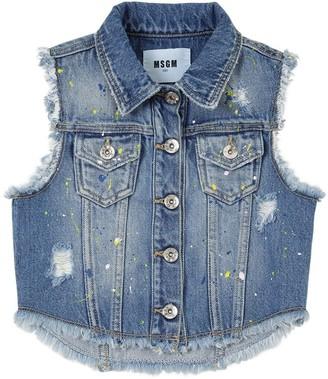 MSGM Painted Stretch Cotton Denim Vest