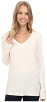 Dylan by True Grit Gauzy Cotton Long Sleeve V-Neck Tee